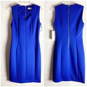 New Calvin Klein Scuba Sheath Dress Cobalt Blue 10